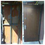 Установка новой панели МДФ на входную металлическую дверь в загородном доме. Дополнительно установлены новые ручки, дверной глазок