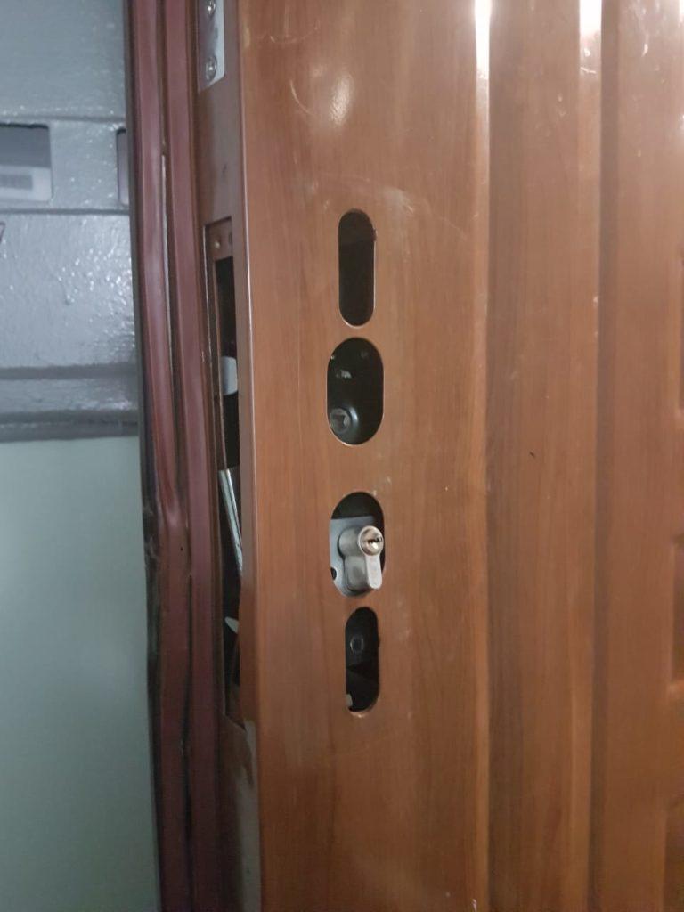 Замена корпуса замка на входной двери после вскрытия сотрудниками МЧС.  Заменены дополнительно личинка замка и ручки на планке.